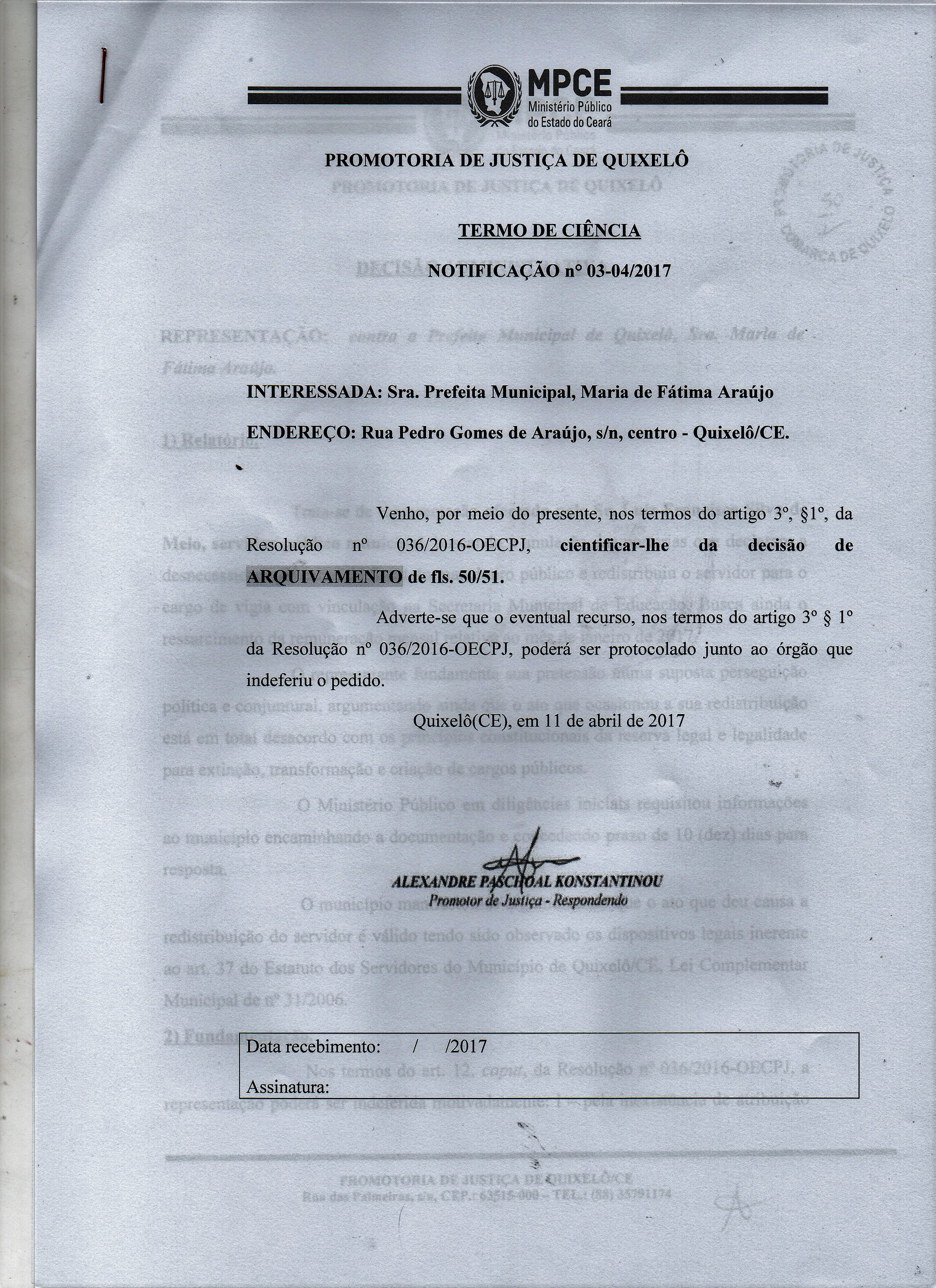 URGENTE! Ministério Público conclui que atos administrativos não foram praticados com fins de perseguição política