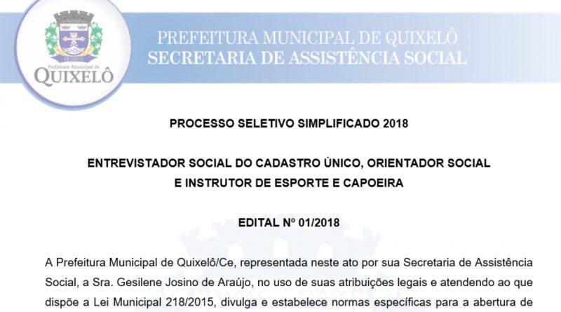 ENTREVISTADOR SOCIAL DO CADASTRO ÚNICO, ORIENTADOR SOCIAL  E INSTRUTOR DE ESPORTE E CAPOEIRA  EDITAL Nº 01/2018