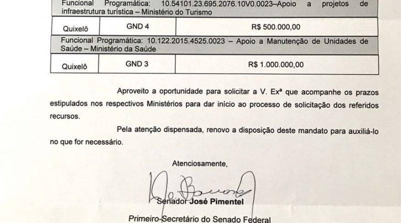 Senador Pimentel envia 1,5 milhão de reais em emendas para Quixelô