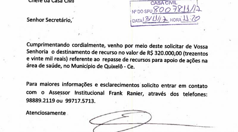 Deputado Elmano de Freitas destina 320 mil para a Saúde de Quixelô para 2018