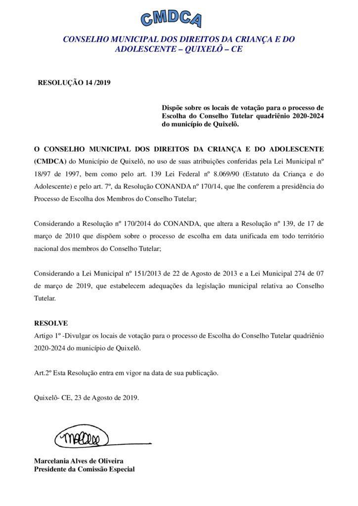 thumbnail of RESOLUÇÃO 14 DIVULGA OS LOCAIS DE VOTAÇÃO